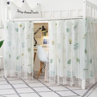 Leaves Prints Bunker Bed Tent Privacy Cover Curtains - Green