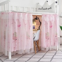 Flamingo Prints Bunker Bed Tent Privacy Cover Curtains - Pink