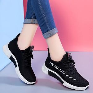 Laced Up Women Sports Wear Casual Sneakers - Black