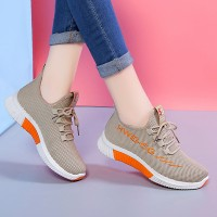 Laced Up Women Sports Wear Casual Sneakers - Khaki