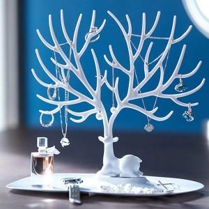 Deer Horn Designed Jewellery Holder Table Rack - White