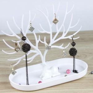 Jewellery Holder Deer Horn Designed Table Rack - White