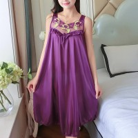 Lace Patched Satin Frilled Nightwear Lingerie Sets - Purple