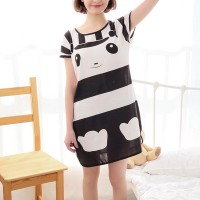 Striped Prints Round Neck Short Sleeves Pajama Nightwear Tops
