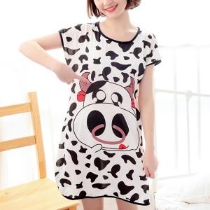 Cow Prints Round Neck Short Sleeves Pajama Nightwear Tops