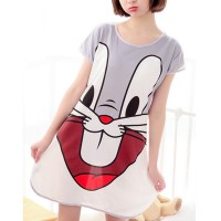 Bunny Prints Round Neck Short Sleeves Pajama Nightwear Tops