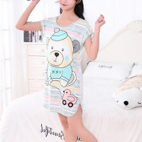 Bear Prints Round Neck Short Sleeves Pajama Nightwear Tops