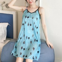 Digital Prints Women Fashion Nightwear Tops - Blue