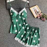 Polka Prints Lace Patched Two Pieces Pajama Sets - Green