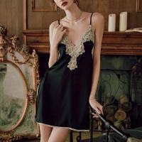 Sexy Wear Lace Strappy Intimate Nightwear Suit - Black