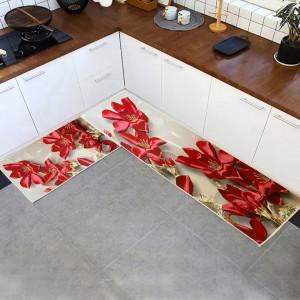 Petals Printed Fancy Kitchen Floor Mats - Hot Pink