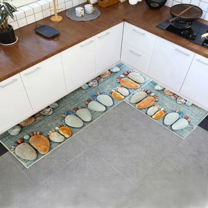 Stones Printed Kitchen Two Sided Fancy Mats - Gray