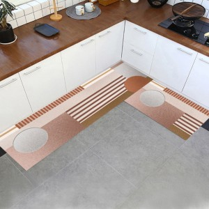 Geometric Printed Kitchen Two Sided Fancy Mats - Brown
