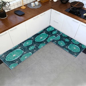 Printed Kitchen Two Sided Fancy Mats - Green