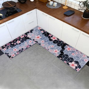 Printed Flower Kitchen Two Sided Fancy Mats - Black Gray