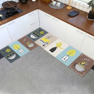 Floral Prints Colorful Two Sided Kitchen Mats - Dark Green