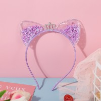 Sequins Ear Fashion Kids Wear Headband - Purple