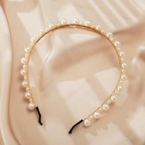Creative Decoration With Pearls Women Headband - White