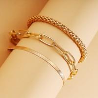 Braid Snake Chain Gold Plated Women Bracelets Set - Golden