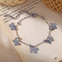 Pendant Butterfly Fashion Silver Plated Anklet - Silver