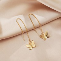 Fancy Dangle Butterfly Gold Plated Women Earrings - Golden