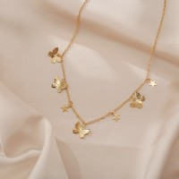 Braid Chain Star Butterfly Fashion Necklace For Women - Golden