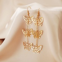 Dangle Hollow Butterfly Design Women Earrings - Golden