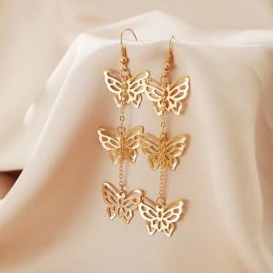 Dangle Hollow Butterfly Design Women Earrings - Golden