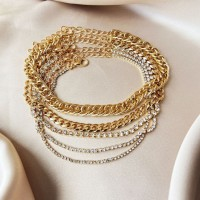 Elegant Braid With Crystal Decorated Women Anklet - Golden