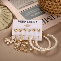 Pearls Decorated Six Pieces Earrings Set - Golden