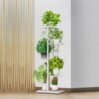 Four Tiers Metallic Fancy Home Decorative Plants Pot Rack - White