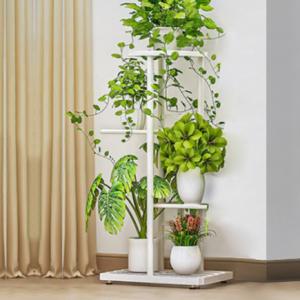 Three Tiers Metallic Fancy Home Decorative Plants Pot Rack - White