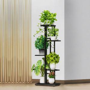 Four Tiers Metallic Fancy Home Decorative Plants Pot Rack - Dark Gray