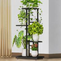 Four Tiers Metallic Fancy Home Decorative Plants Pot Rack - Black