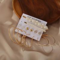 Trendy Spherical Design 8 Pieces Earrings Set - Golden