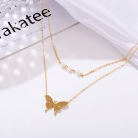 Butterfly Gold Plated Double Layered Women Necklace - Golden
