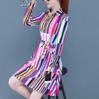 Shirt Collar Button Up Waist Knotted Mini Dress - Multicolors