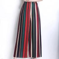 Elastic Waist Striped Prints Casual Wear Trousers - Multicolor