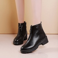 Zipper Closure Slip Over Women Vintage Boots - Black