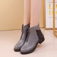 Zipper Closure Slip Over Women Vintage Boots - Gray