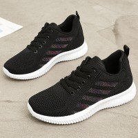 Mesh Hollow Sports Wear Women Gym Running Sneakers - Black