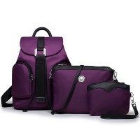 Three Pieces Buckle Closure Nylon Backpacks Set - Purple