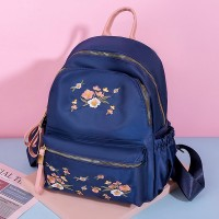 Thread Floral Art Zipper Closure Women Fashion Backpacks - Blue