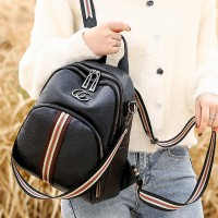 Synthetic Leather Vintage Women Fashion Backpacks - Black And White