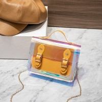 Holographic Buckle Style Chain Strap Handbags - Yellow