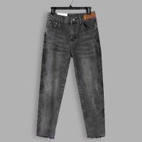 Stylish Closure Button Denim Pant For Women - Gray