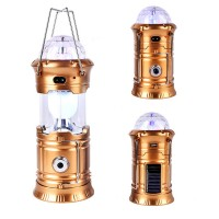 Multi-functional Led Solar And Electric Rechargeable Portable Lantern - Golden