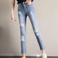 Fancy Ripped Style Crop Bottom Women Pant - Blue