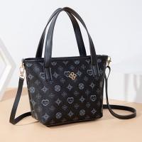 Printed Designers Zipper Closure Women Handbags - Black