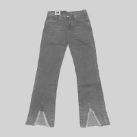 Bell Bottom Ripped Fashion Pant For Women - Gray